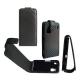 Leder Beschermtasje Flip Carbon Zwart voor Nokia C6